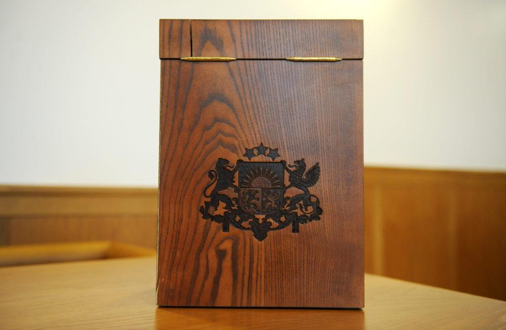 Satversmes tiesa sēžu zālē notiek Satversmes tiesas priekšsēdētāja vēlēšanas.