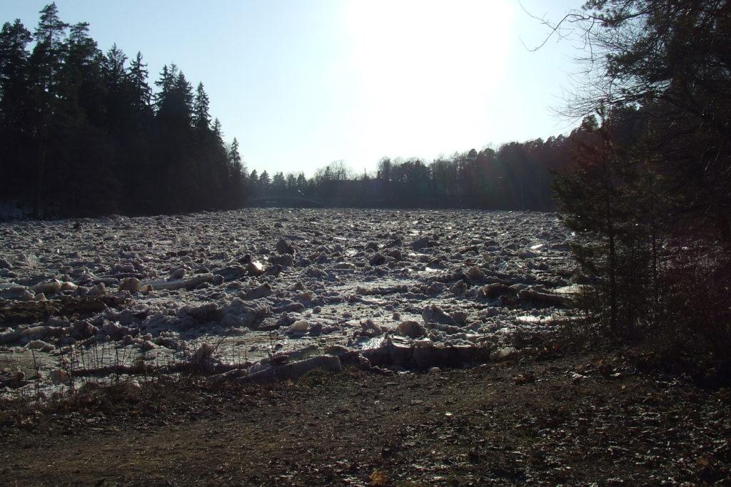 Ogres upē pie Ogres sākusies ledus iešana.