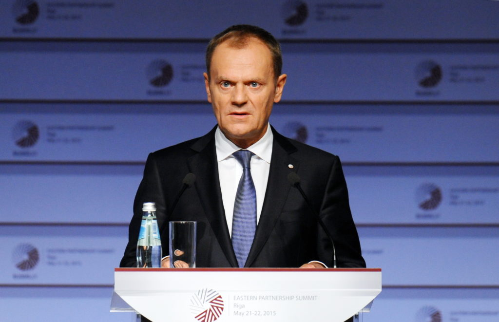 Eiropadomes priekšsēdētājs Donalds Tusks piedalās Austrumu partnerības samita preses konfrenecē Latvijas Nacionālajā bibliotēkā.