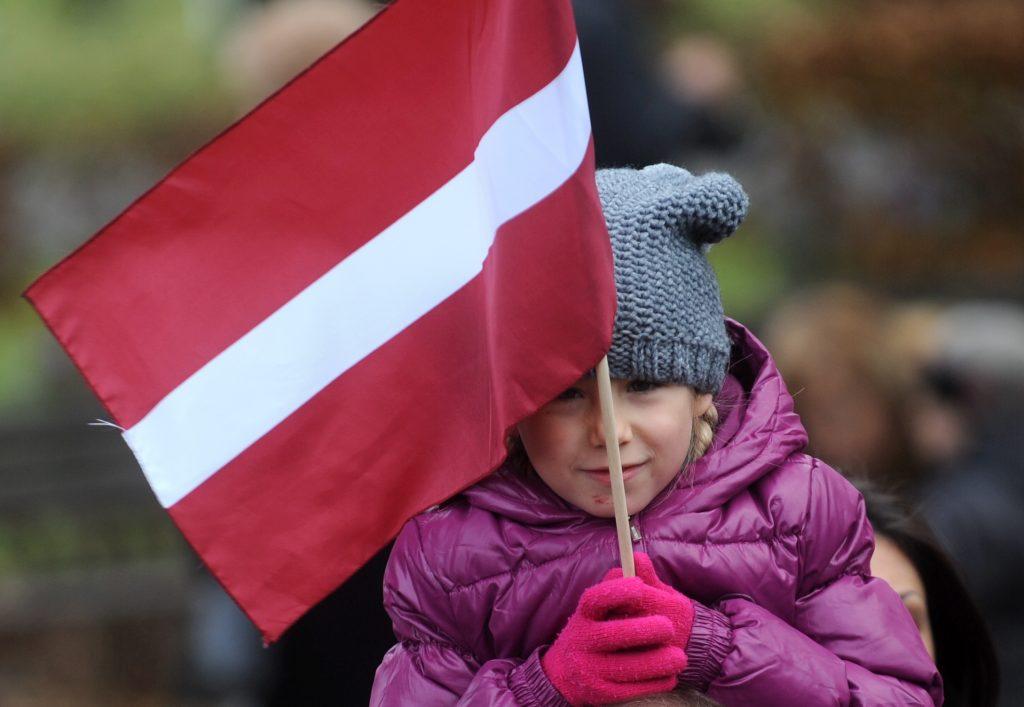 Meitene ar Latvijas karodzīņu ziedu nolikšanas ceremonijas laikā pie Brīvības pieminekļa par godu Latvijas proklamēšanas 93.gadadienai.